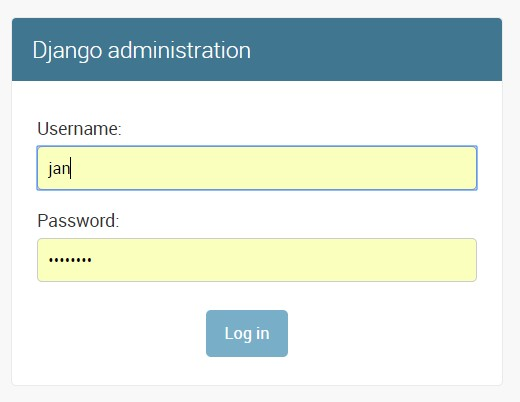 Django administration login screen