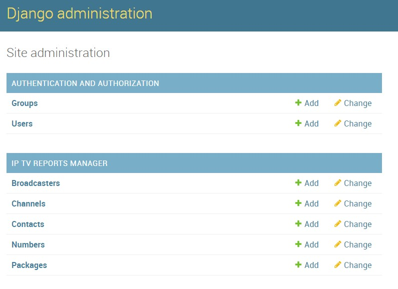 Django administration interface
